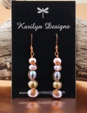 Five Pearl Copper Swirl Earrings